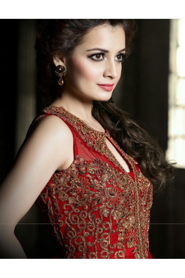 Designer Net Embroidered Party Wear Red Gown - 25001 ( OFB-645 )
