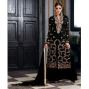 Georgette Embroidered Black Palazzo Suit  - 2007 ( OFB-653 )