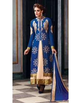 Georgette Embroidered Blue Anarkali Salwar Kameez - 2003 ( OFB-653 )
