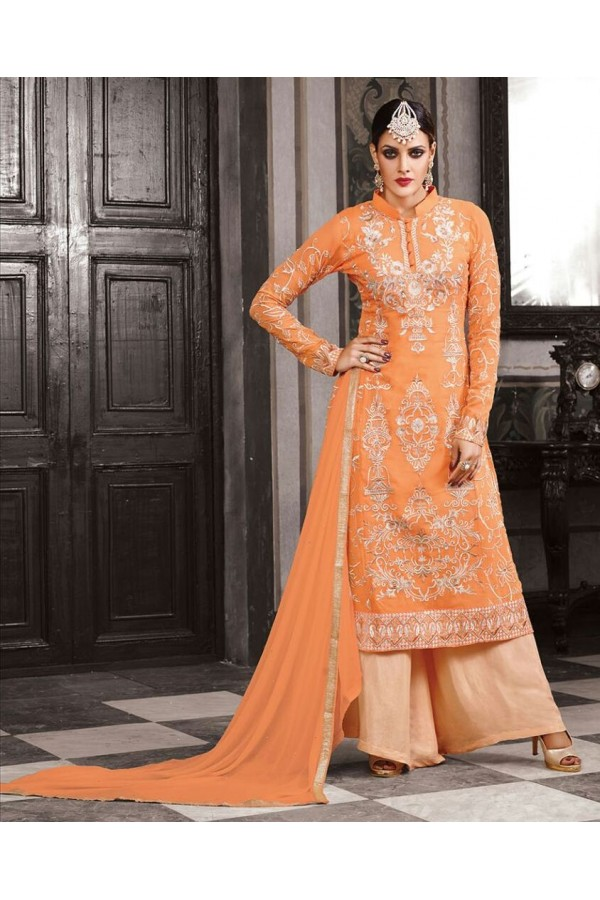Georgette Embroidered Orange Palazzo Suit  - 2008 ( OFB-653 )