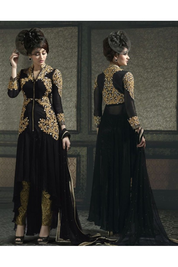 Georgette Embroidered Black Salwar Suit - 9005A ( 655 )