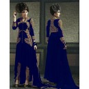 Georgette Embroidered Blue Salwar Suit - 9005C ( 655 )