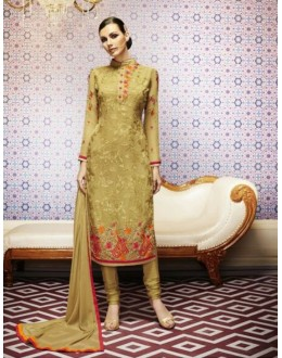 Amba Georgette Embroidered Beige Salwar Kameez - 7203 ( 664 )