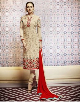 Amba Georgette Embroidered Cream Salwar Kameez - 7201 ( 664 )