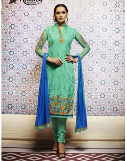 Amba Georgette Embroidered Green Salwar Kameez - 7202 ( 664 )
