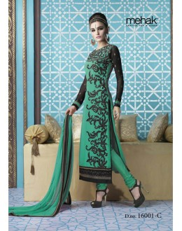 Ethnic Wear Georgette Green Salwar Kameez - 16001-C