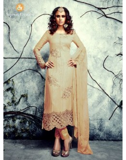Party Wear Georgette Beige Salwar Kameez - 4003-E