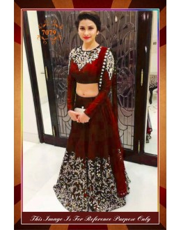 Bollywood Replica - Designer Party Wear Georgette Maroon Lehenga Choli - WA0073 ( OFB-7079 )