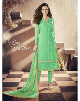 Party Wear Georgette Green Churidar Salwar Kameez - 7302