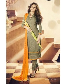 Party Wear Georgette Olive Churidar Salwar Kameez - 7307