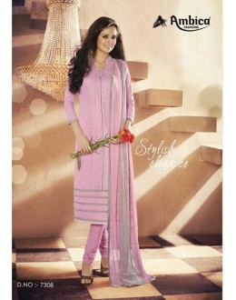 Party Wear Georgette Pink Churidar Salwar Kameez - 7308