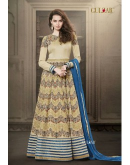 Gulzar Faux Georgette Cream Anarkali Suit - 1505