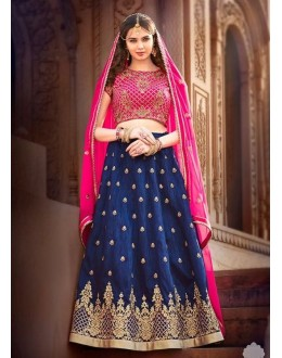 Wedding Wear Banglori Silk Blue Lehenga Choli - L-4