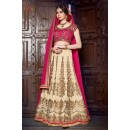 Wedding Wear Banglori Silk Cream Lehenga Choli - L-2