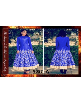 Bollywood Replica - Designer Blue Banglori Silk Anarkali Suit - 9057-A