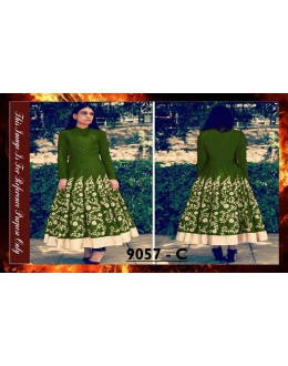 Bollywood Replica - Designer Green Banglori Silk Anarkali Suit - 9057-C