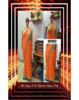 Bollywood Replica - Designer Orange Pearl Lace Work Saree - 9060