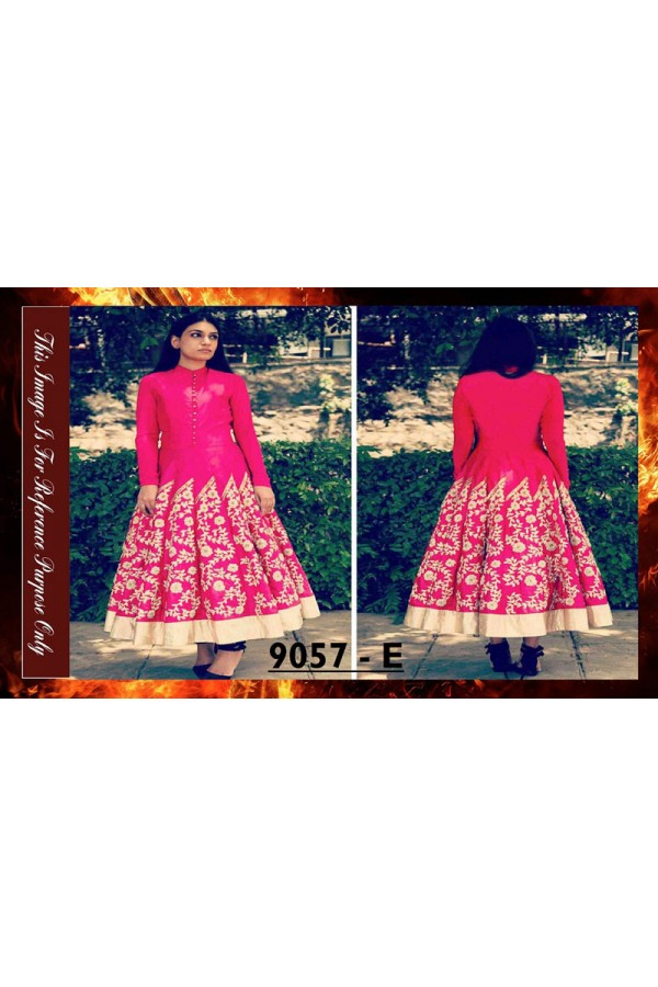 Bollywood Replica - Designer Pink  Banglori Silk Anarkali Suit - 9057-E