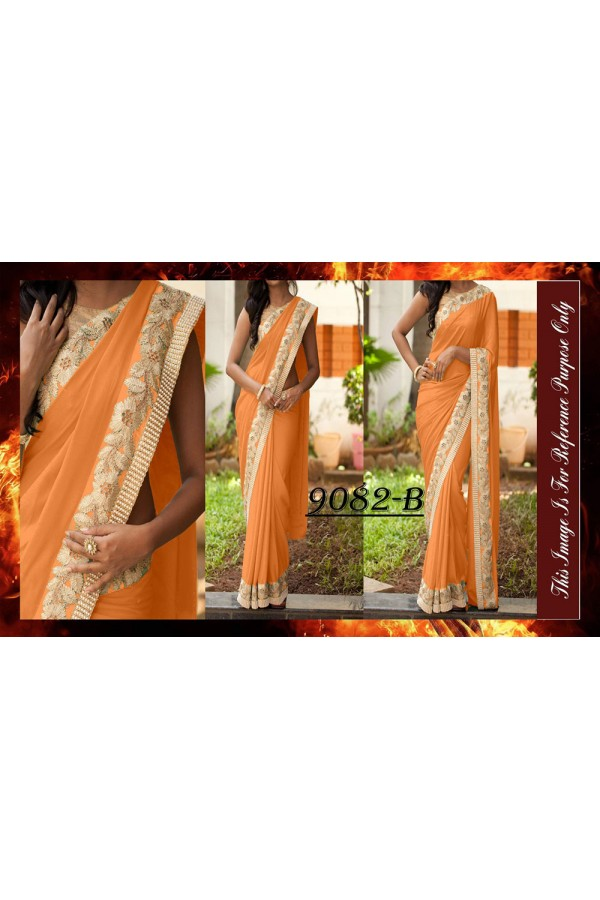 Bollywood Replica - Designer Orange Party Wear Saree - 9082-B