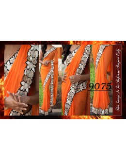 Bollywood Replica - Designer Orange Party Wear Saree - 9075