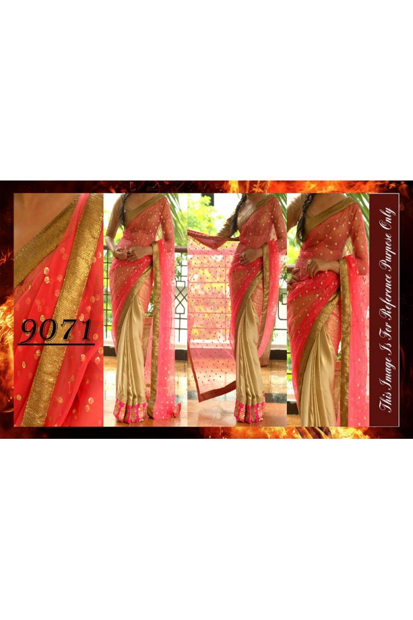 Bollywood Replica - Designer Pink & Beige Party Wear Saree - 9071