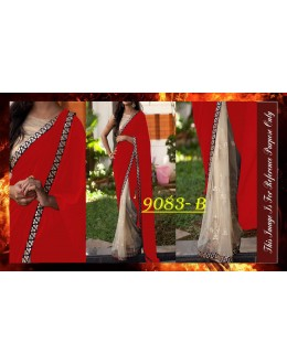 Bollywood Replica - Designer Red & Beige Saree - 9083-B