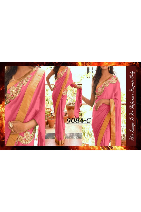 Bollywood Replica - Party Wear Pink Saree - 9084-C