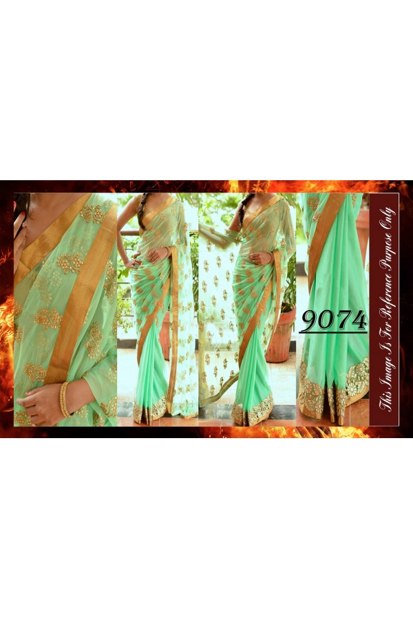 Bollywood Replica - Party Wear Light Green Zari Work Saree - 9074