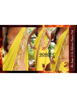 Bollywood Replica - Party Wear Yellow Saree - 9080-C