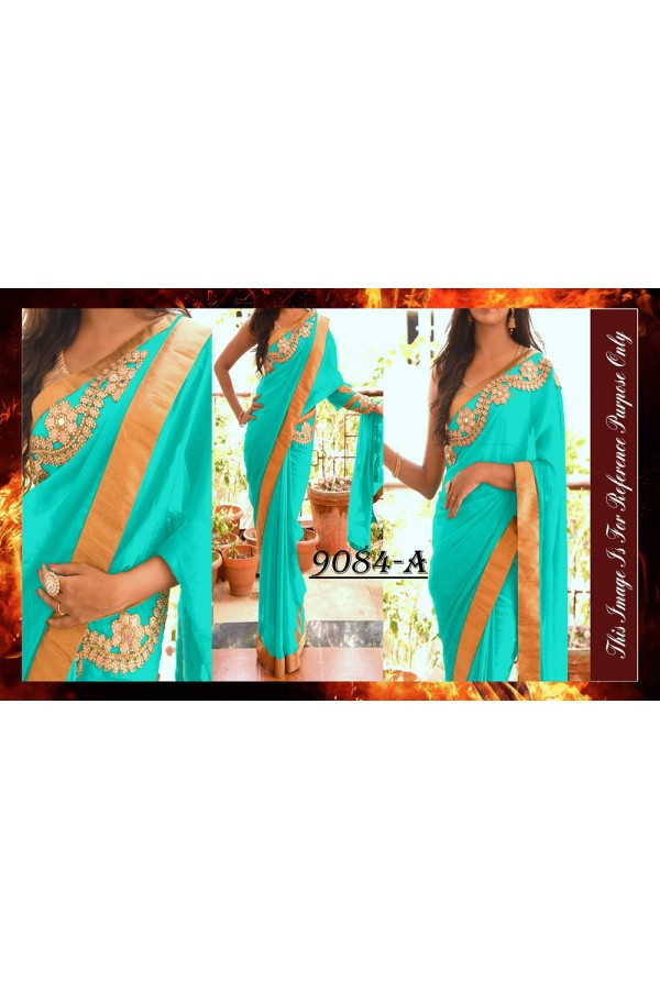 Bollywood Replica - Party Wear Blue Saree - 9084-A