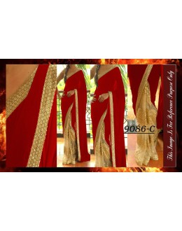 Bollywood Replica - Wedding Wear Beige & Red Saree - 9086-C
