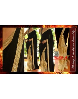 Bollywood Replica - Wedding Wear Beige & Black Saree - 9086-A