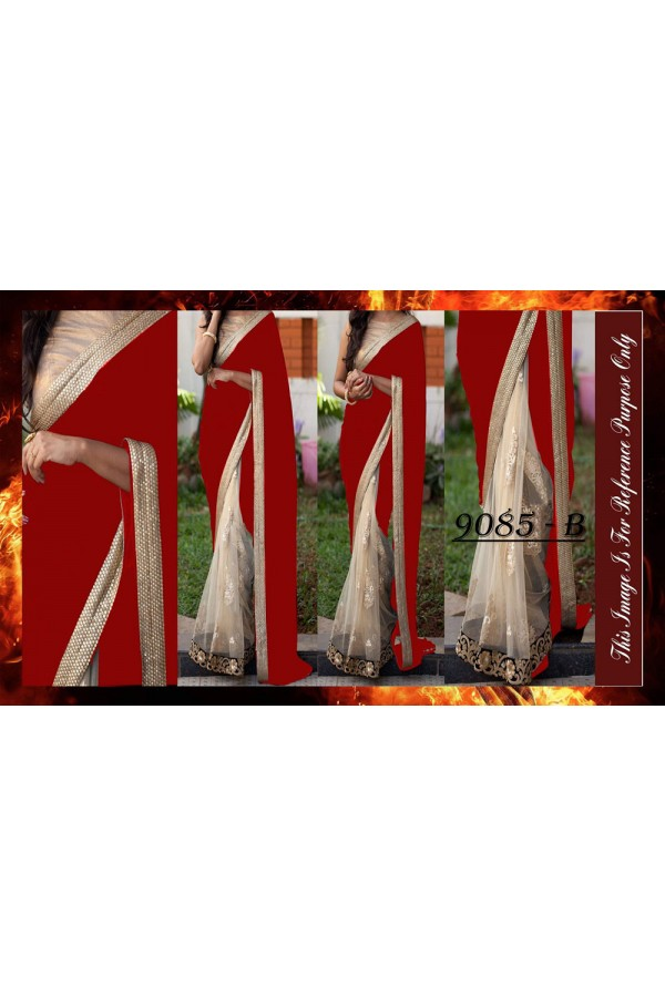 Bollywood Replica - Wedding Wear Red & Beige Saree - 9085-B