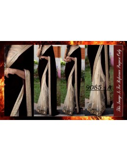 Bollywood Replica - Wedding Wear Black & Beige Saree - 9085-A