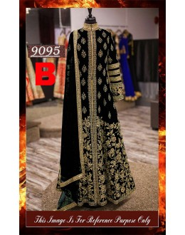 Bollywood Replica - Wedding Wear Black Slit Anarkali Suit - 9095-B