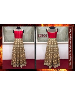 Bollywood Replica - Wedding Wear Cream & Red Gown  - 9100-B