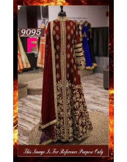 Bollywood Replica - Wedding Wear Maroon Slit Anarkali Suit - 9095-F