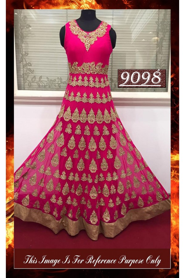Bollywood Replica - Wedding Wear Pink Jari Work Anarkali Suit - 9098