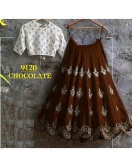 Bollywood Replica -  Party Wear Choclate Brown Crop Top Lehenga - 9120-A