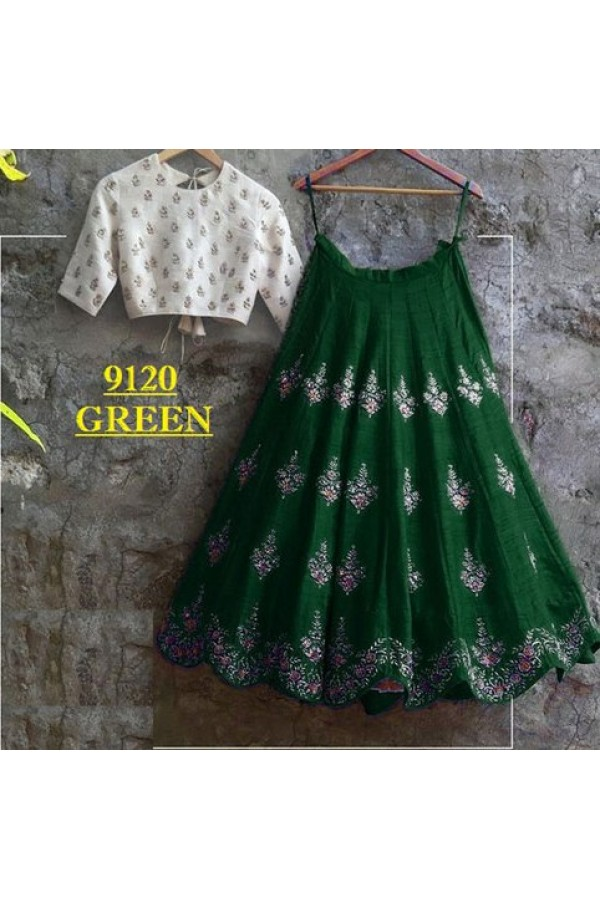 64f5be8846f Bollywood Replica - Party Wear Green & White Crop Top Lehenga ...
