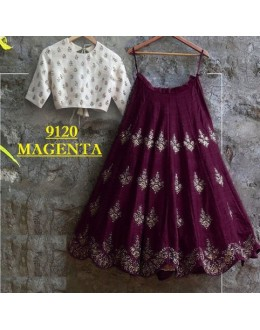 Bollywood Replica -  Party Wear Magenta & White Crop Top Lehenga - 9120-C