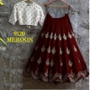 Bollywood Replica -  Party Wear Maroon & White Crop Top Lehenga - 9120-D