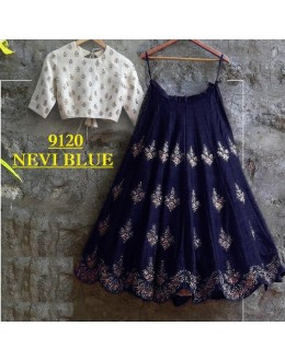 Bollywood Replica -  Party Wear Navy Blue & White Crop Top Lehenga - 9120-E