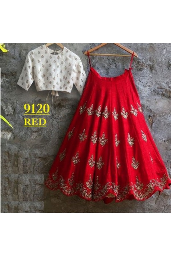 Bollywood Replica Party Wear Red Amp White Crop Top