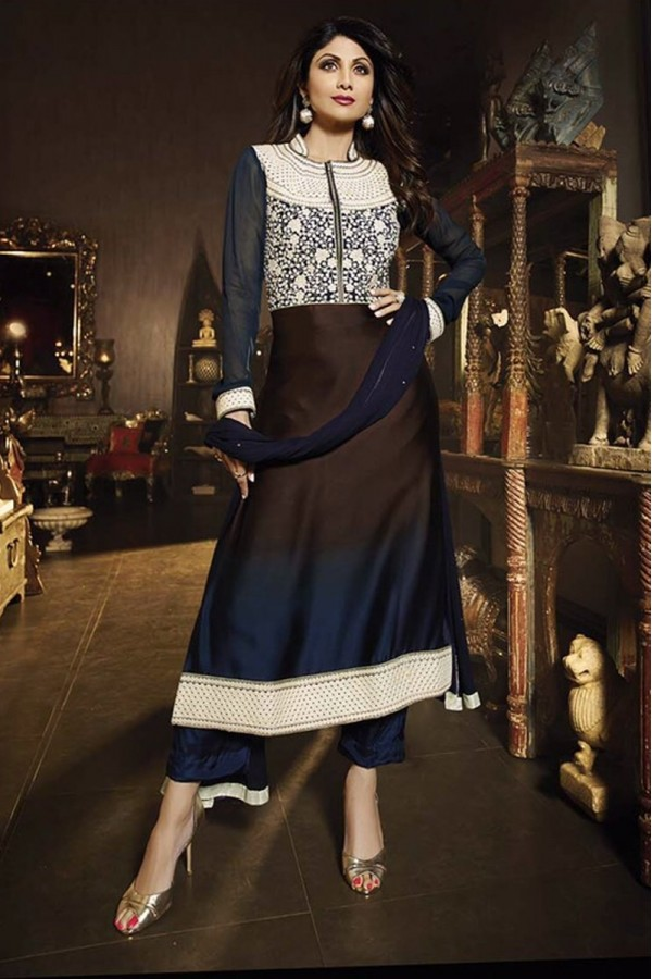Diwali Special Blue & Brown Embroidered Satin Shaded Anarkali Suit-7025(OFB-KARMA)