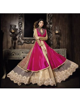 Diwali Special Cream & Pink Embroidered Pure Silk Anarkali Suit-7020(OFB-KARMA)