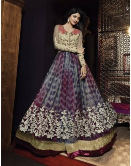 Diwali Special Multicolor Embroidered Net Anarkali Suit-7027(OFB-KARMA)