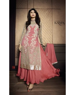 Diwali Special Peach Embroidered Net Anarkali Suit-7028(OFB-KARMA)