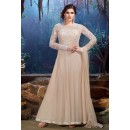 Semi Georgette Cream Anarkali Suit - 24005