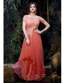 Semi Georgette Peach Anarkali Suit - 24006